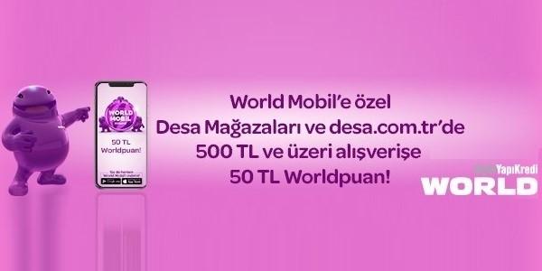 World Mobil'e özel  50 TL Worldpuan!