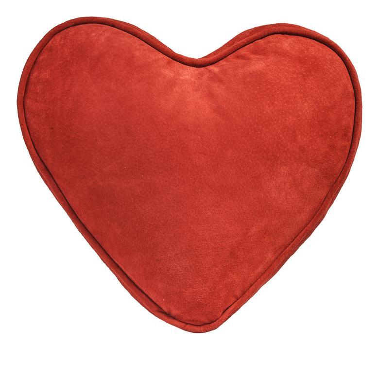 Süet Kırmızı Kalp Yastık