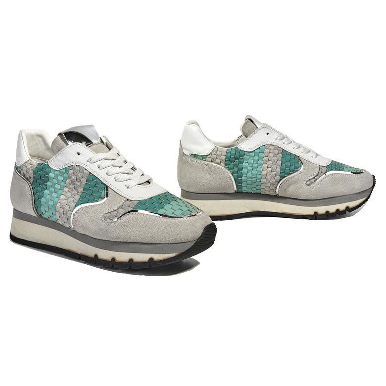 Hale Örgülü Deri Kadın Spor Ayakkabı