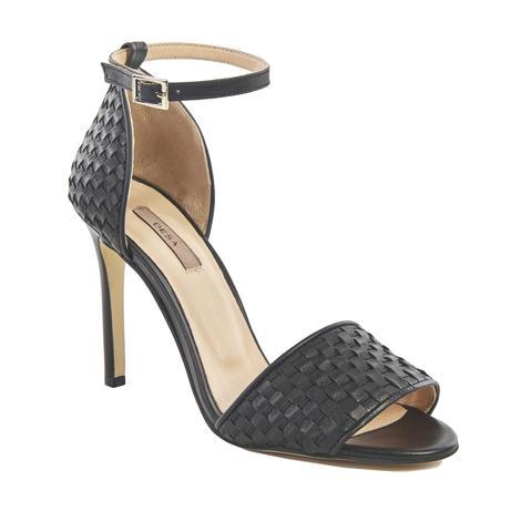 Dotore Örgü Desenli Kadın Topuklu Deri Sandalet 2010041442002