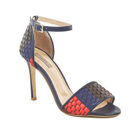 Dotore Örgü Desenli Kadın Topuklu Deri Sandalet 2010041442011