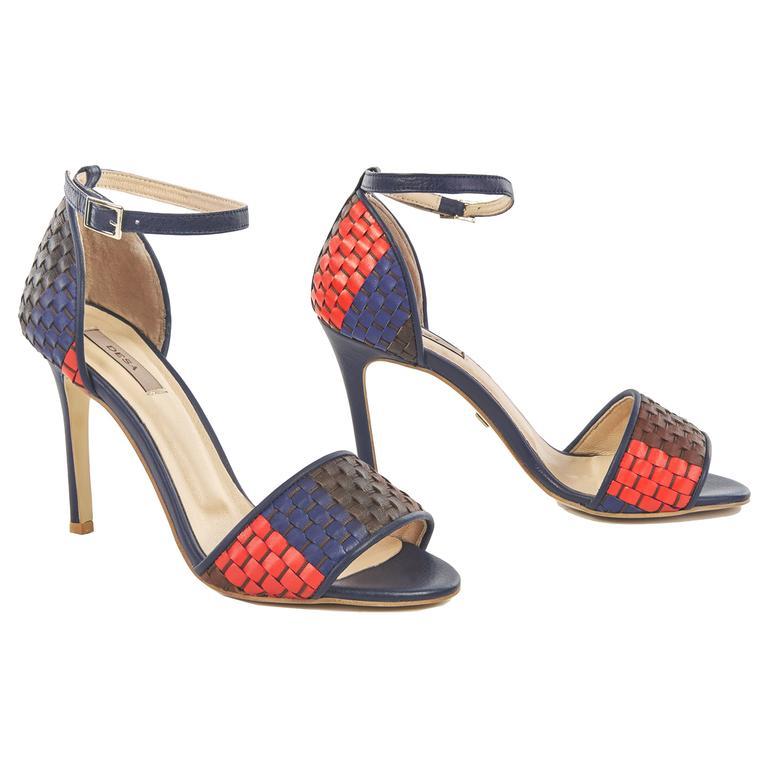 Örgü Desenli Kadın Deri Sandalet 2010041442011