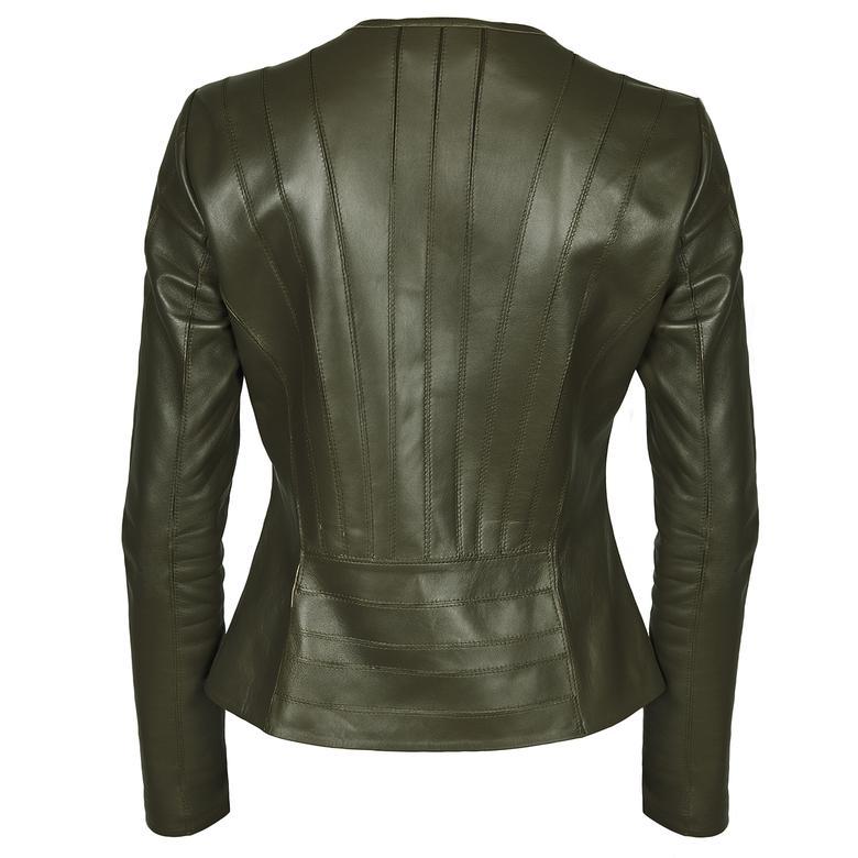 Deundria Kadın Panelli Deri Ceket