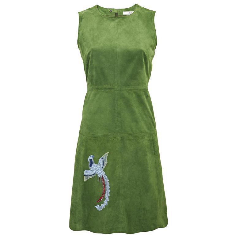 Kuş Nakışlı Kadın Süet Elbise