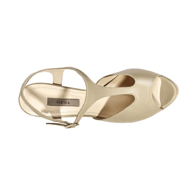 Kadın Topuklu Deri Sandalet 2010039740012