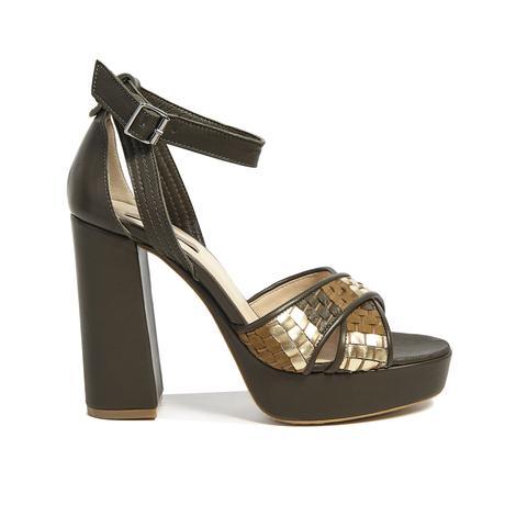 Örgü Desenli Kadın Topuklu Sandalet 2010041426007