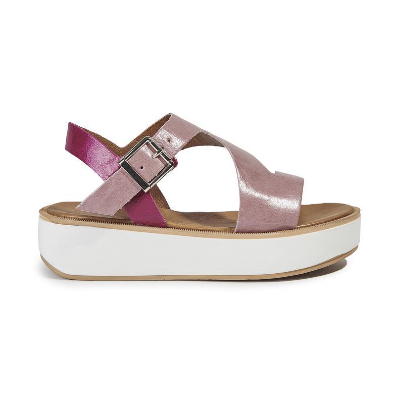 Kadın Kalın Tabanlı Deri Sandalet 2010039730002