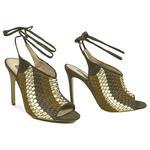 Örgü Desenli Kadın Topuklu Deri Sandalet 2010041427007