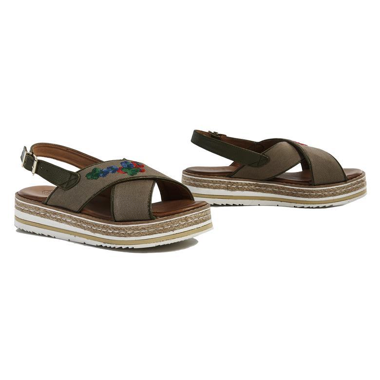 Nakışlı Kanvas Kadın Sandalet
