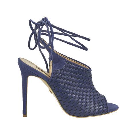 Örgü Desenli Kadın Topuklu Deri Sandalet 2010041427003