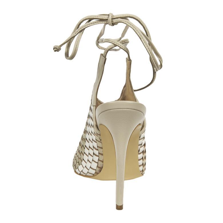 Örgü Desenli Kadın Topuklu Deri Sandalet 2010041427011