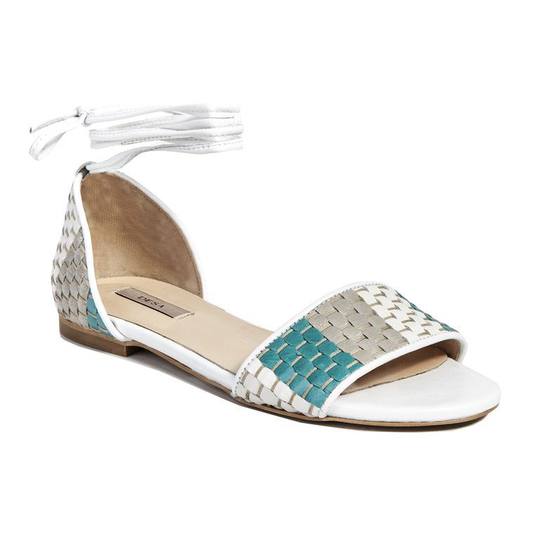 Örgü Desenli Kadın Deri Sandalet