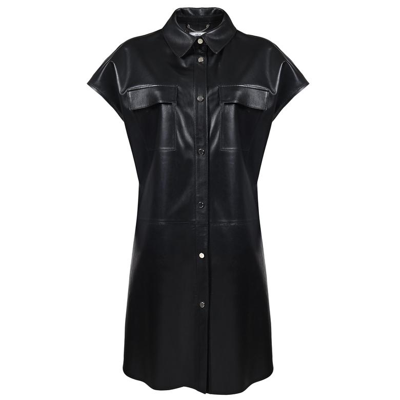 Trella Kadın Deri Gömlek Elbise