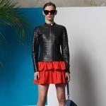 Alvar Kadın Deri Panelli Ceket