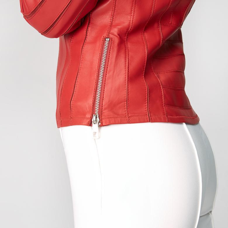 Kadın Deri Fit Panelli Biker Ceket 1010025443006
