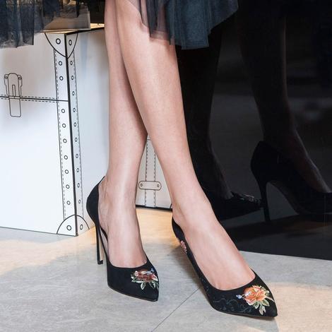 Nakışlı Mina Kadın Süet Stiletto 2010042639003