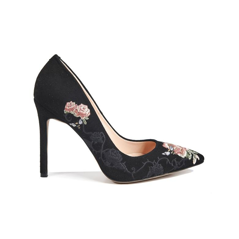 Nakışlı Mina Kadın Süet Klasik Ayakkabı