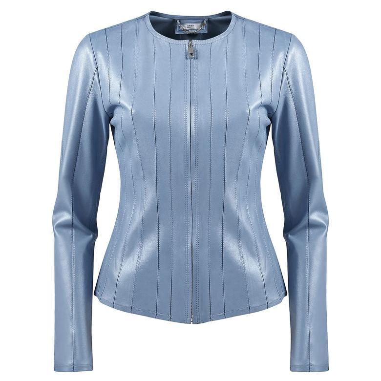 Deundria Kadın Fit Panelli Deri Ceket