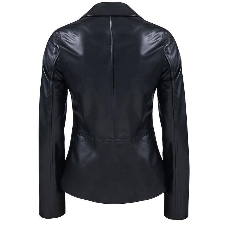 Delcine Kadın Deri Biker Ceket 1010026449009