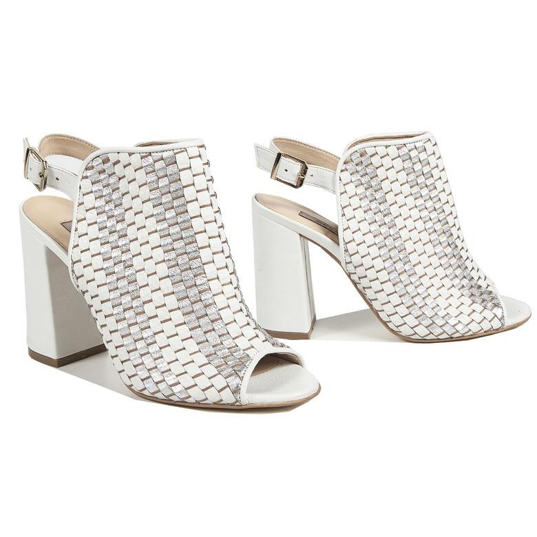 Örgü Desenli Kadın Deri Bootie Sandalet 2010041443007