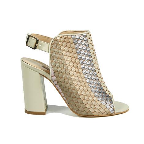 Örgü Desenli Kadın Deri Bootie Sandalet 2010041443011