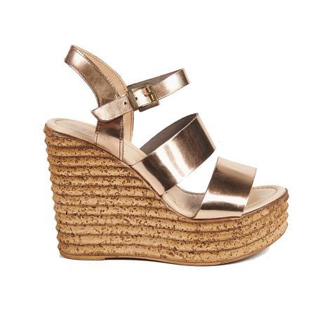 Metalik Kadın Dolgu Topuk Sandalet 2010041421001