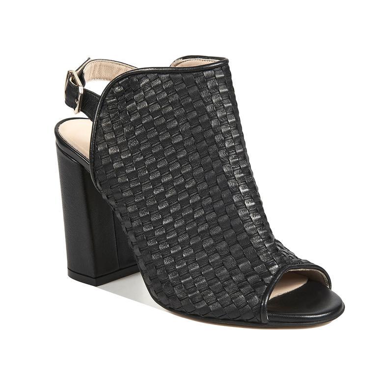 Örgü Desenli Kadın Deri Bootie Sandalet