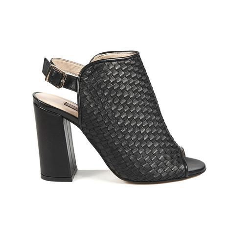Örgü Desenli Kadın Deri Bootie Sandalet 2010041443002
