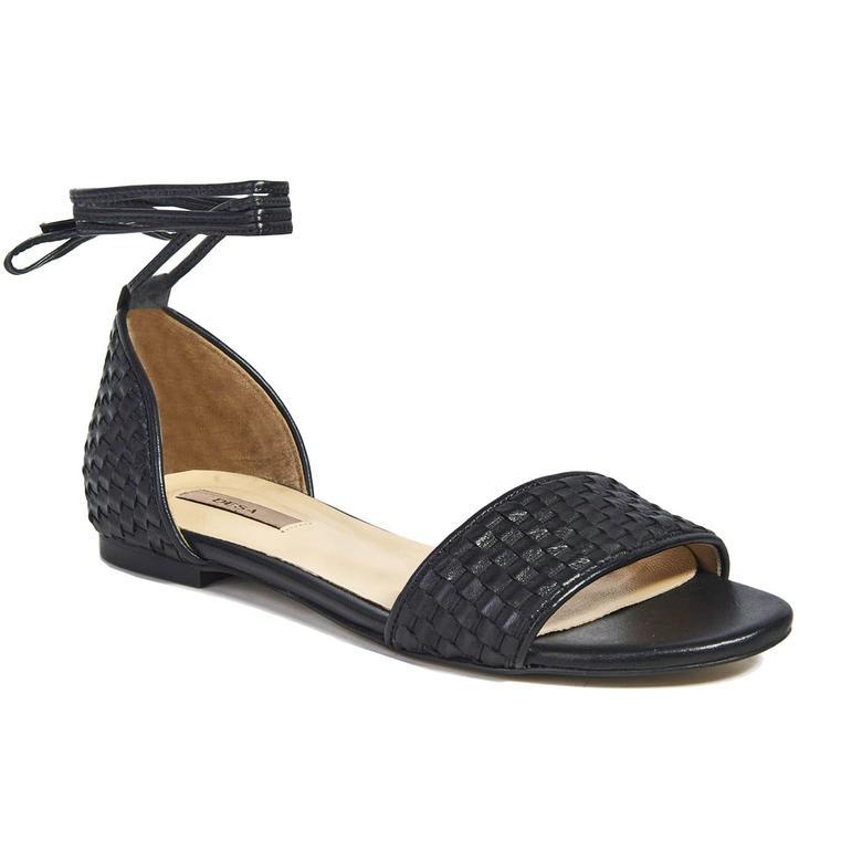 Örgü Desenli Kadın Deri Sandalet 2010041441001
