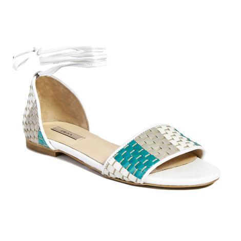 Örgü Desenli Kadın Deri Sandalet 2010041441017