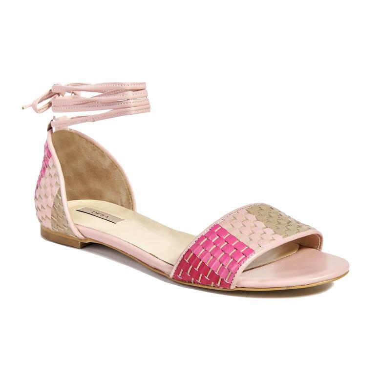 Örgü Desenli Kadın Deri Sandalet 2010041441011