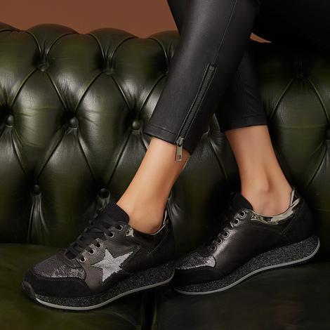 Glenda Kadın Metalik Deri Sneaker 2010043654001