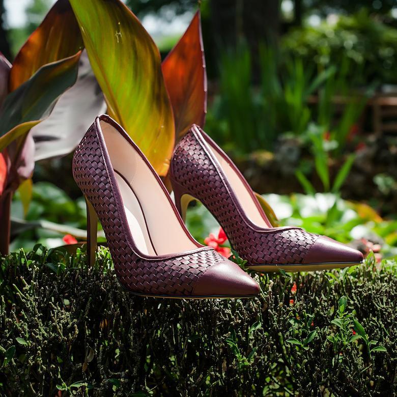 Tamarin Kadın Örgülü Klasik Deri Stiletto 2010043578009