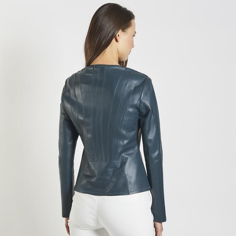 Deundria Kadın Panelli Fit Deri Ceket