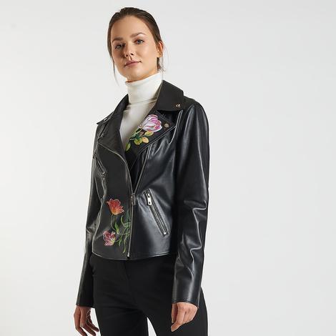 Tulipani Kadın Baskılı Deri Ceket 1010027019002
