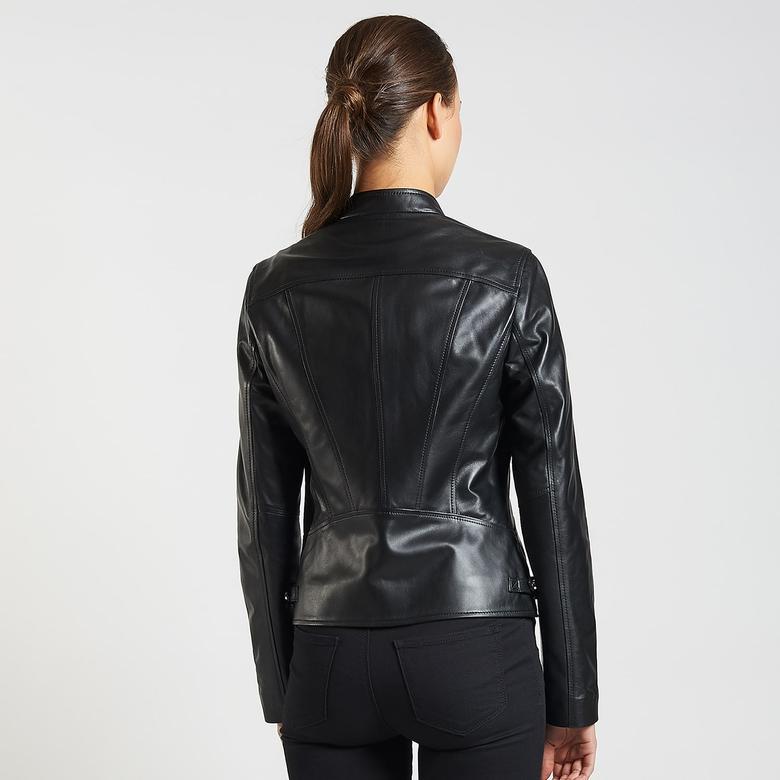 Siyah Paride Kadın Deri Ceket 1010027776005