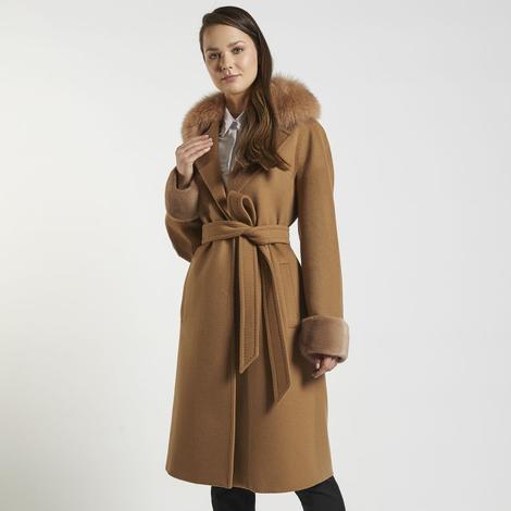 Rhea Kürk Yakalı Yün Palto 1010027336006