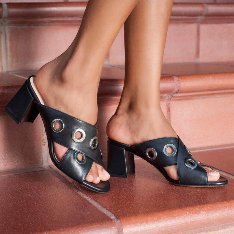 Penelope Kadın Deri Topuklu Terlik 2010042649001