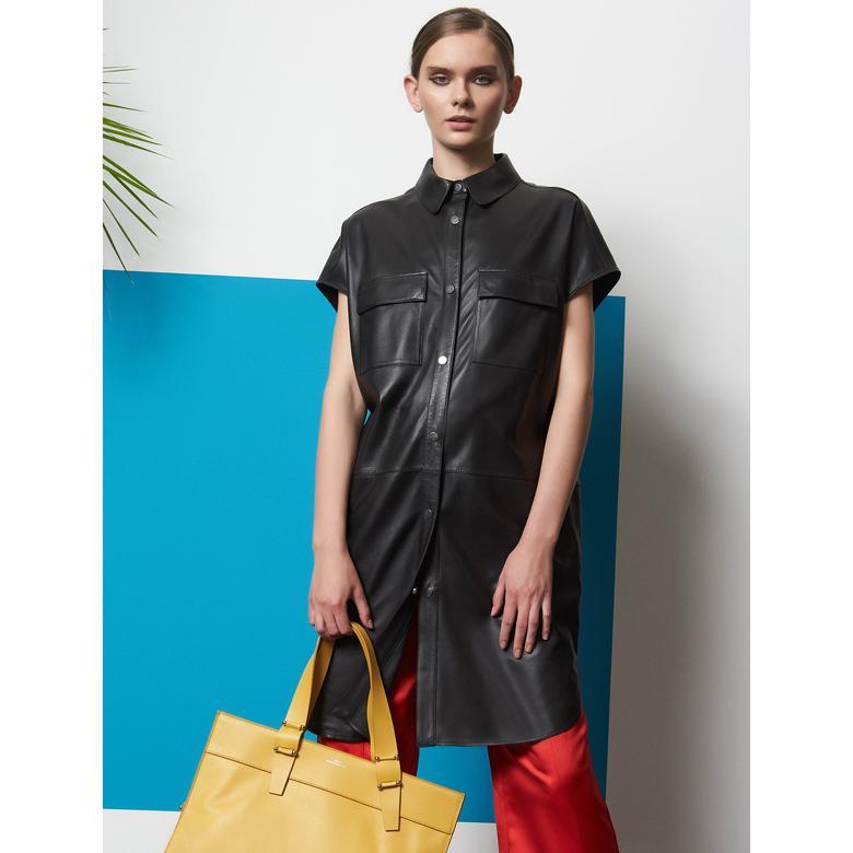Trella Kadın Deri Gömlek Elbise 1010026413005