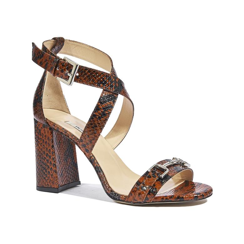 Valmir Kadın Yılan Baskılı Deri Topuklu Sandalet 2010044293005