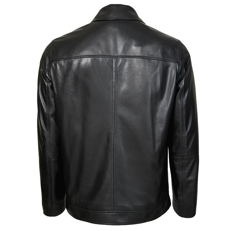 Manno Erkek Gömlek Yakalı Deri Ceket 1010028878005