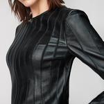 Deundria Kadın Fit Panelli Deri Ceket 1010022415002