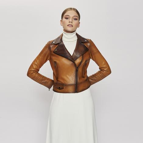 Erica Kadın Deri Biker Vintage Mont 1010029921005