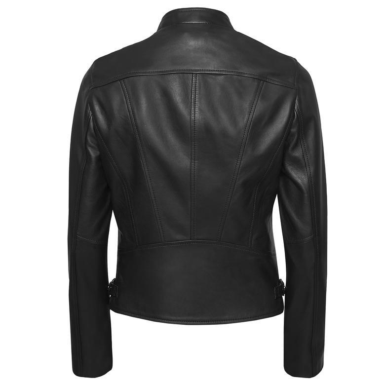Siyah Paride Kadın Deri Ceket 1010029800004