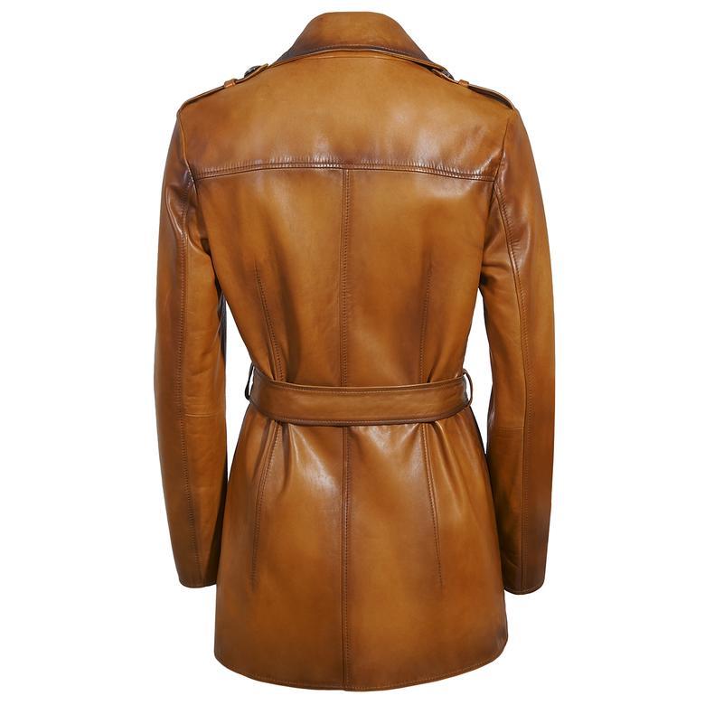 Ester Kadın Vintage Deri Trençkot 1010029920009