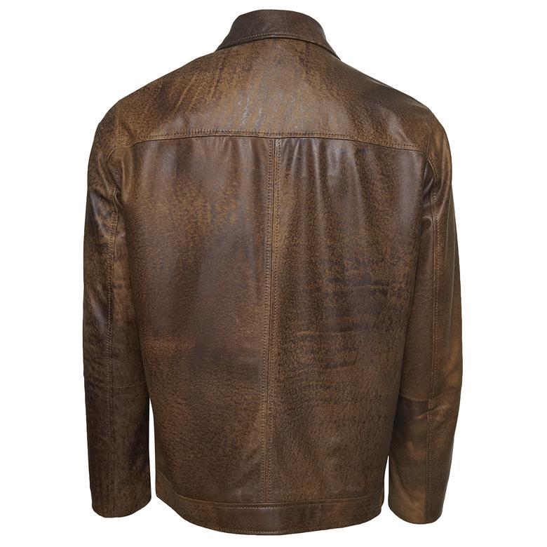 Manno Erkek Gömlek Yakalı Deri Ceket 1010028975001