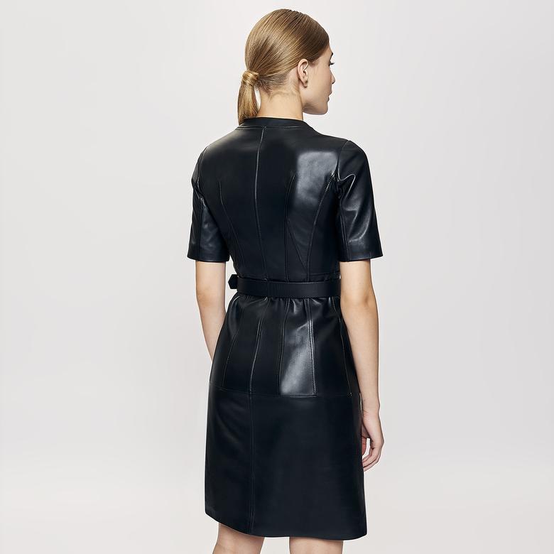 Serilda Kadın Deri Kısa Kollu Elbise 1010030027003