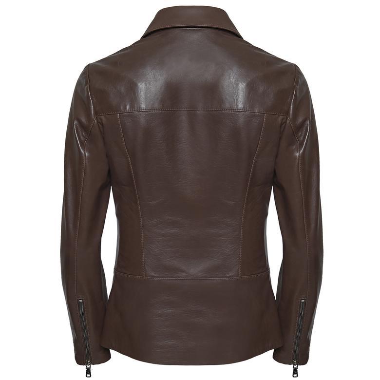 Laura Kadın Gömlek Yakalı Deri Mont 1010029799006