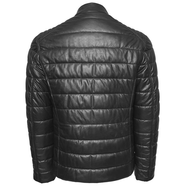 Siyah Gavino Erkek Deri Şişme Mont 1010029918001
