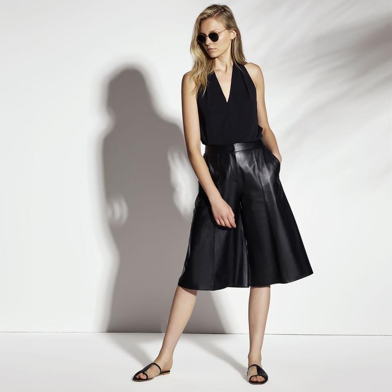 Adele Kadın Deri Bermuda Pantolon 1010030446002
